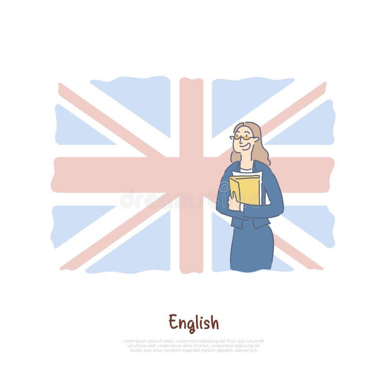 Professeur de Grande-Bretagne, naturel sur le fond britannique de drapeau, bannière de programme d'échange d'étudiant illustration stock