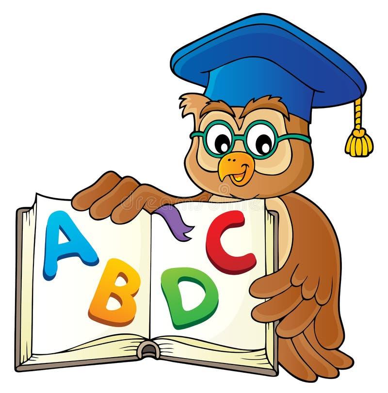 Professeur de hibou avec l'image ouverte 2 de thème de livre illustration de vecteur