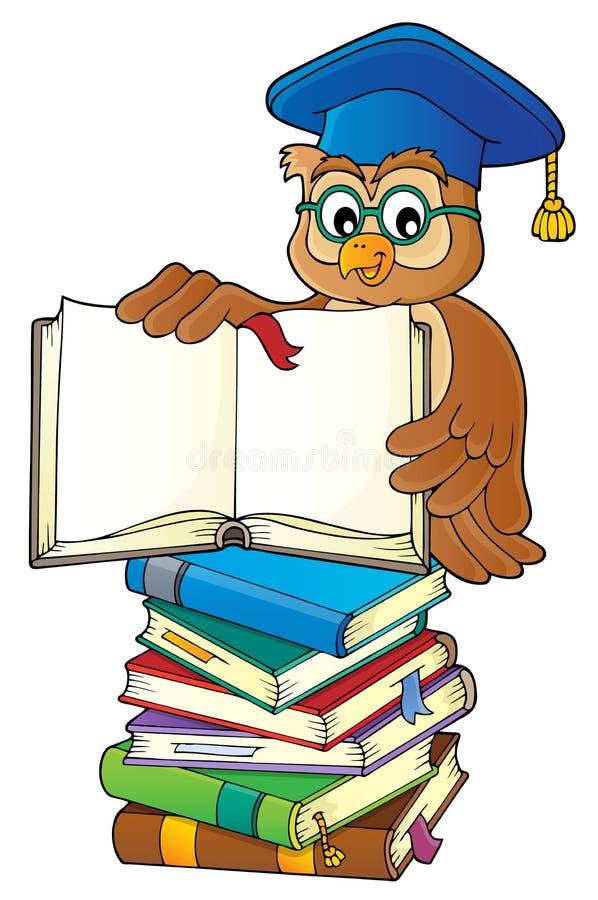 Professeur de hibou avec l'image ouverte 3 de thème de livre illustration de vecteur
