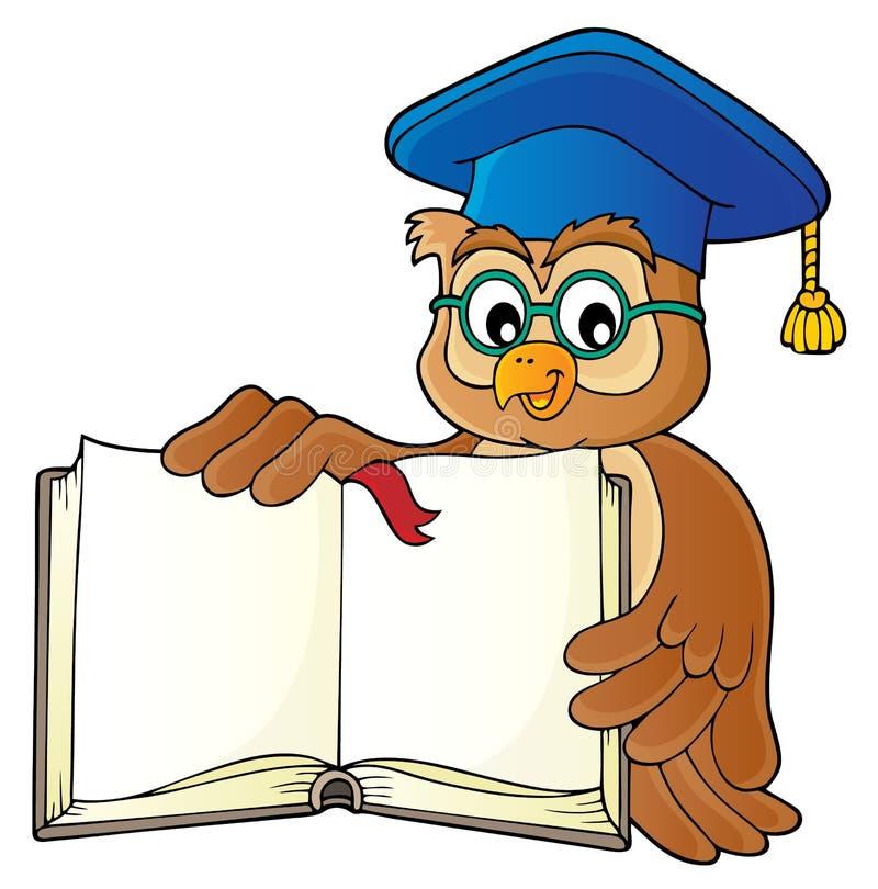 Professeur de hibou avec l'image ouverte 1 de thème de livre illustration de vecteur