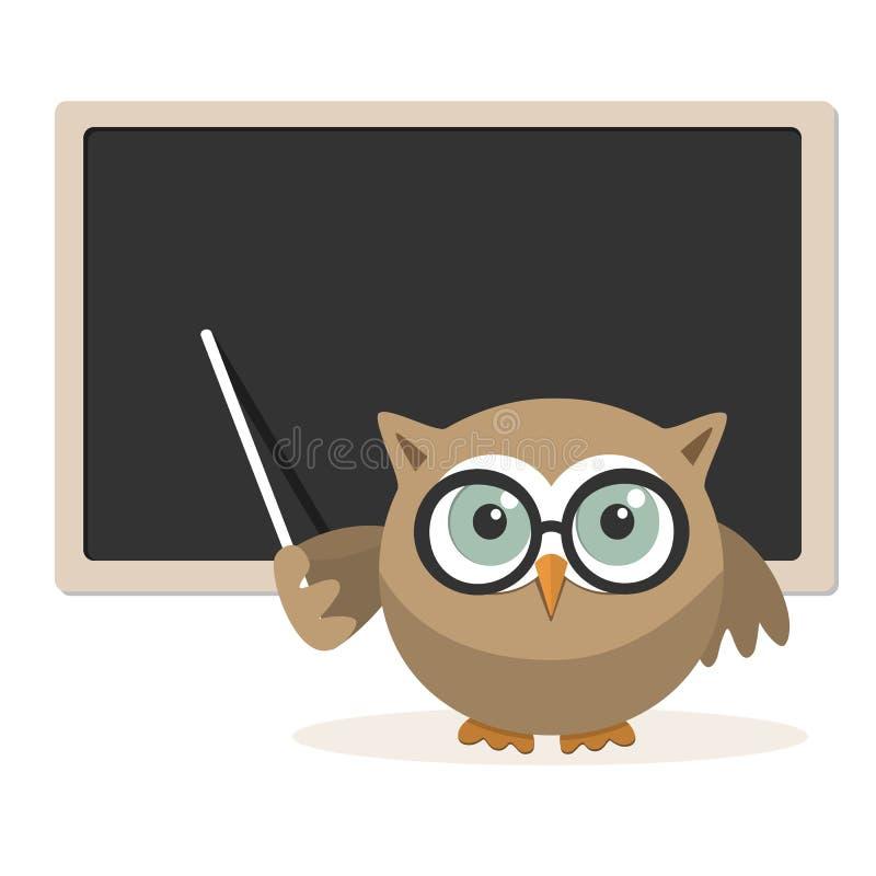 Professeur de hibou expliquant à l'école illustration libre de droits