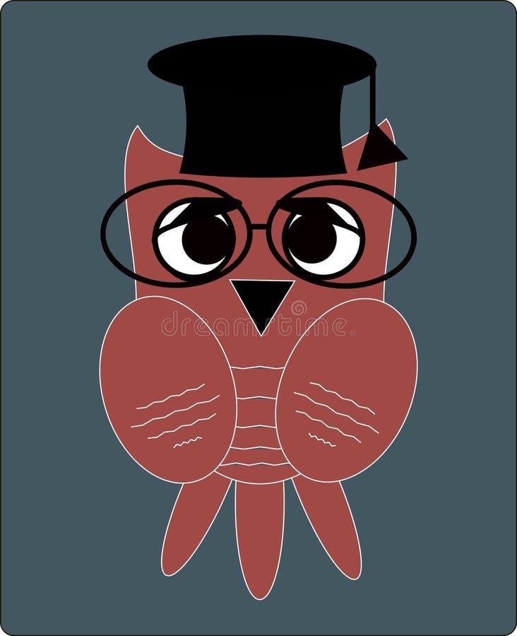 Professeur de hibou, professeur, scientifique dans le style plat illustration stock
