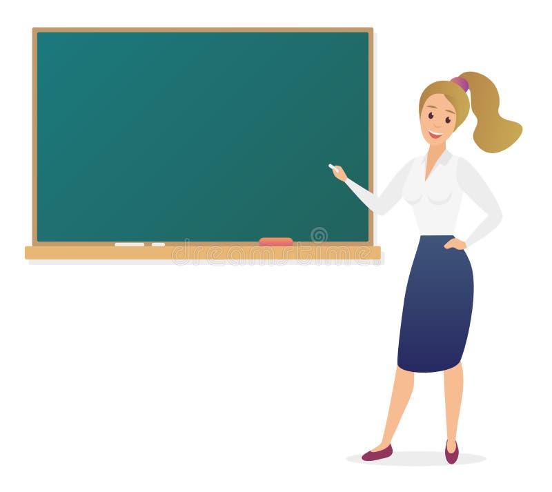 Professeur de jeune femme se tenant devant l'illustration vide de vecteur de tableau noir d'école Professeur féminin d'école mign illustration de vecteur