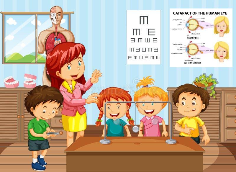 Professeur de Sciences et étudiants dans la salle de classe illustration stock
