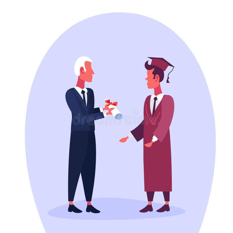 Professeur donnant à homme de diplôme le certificat licencié de chapeau sur le personnage de dessin animé de concept d'éducation  illustration libre de droits