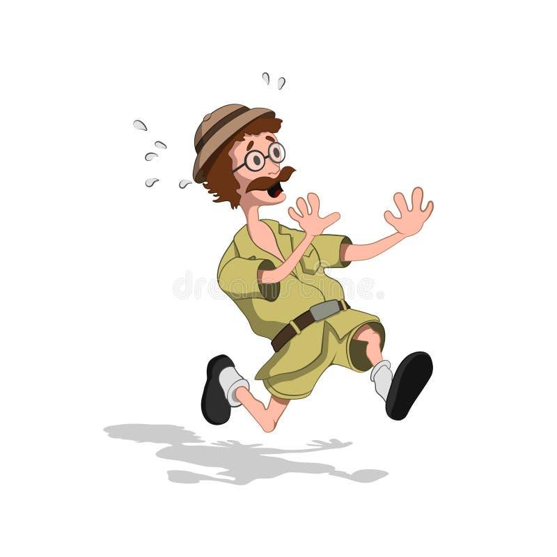 Professeur effrayé dans le style de bande dessinée Image de chasseur courant dans la vue isométrique Dessin de chercheur de jungl illustration stock