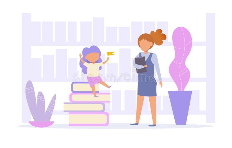 Professeur et étudiant dans le vecteur de bibliothèque cartoon Art d'isolement illustration stock