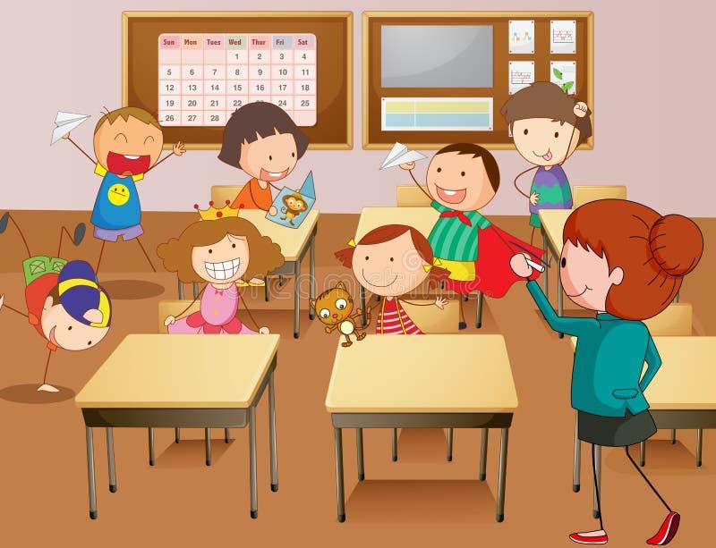 Professeur et étudiants à l'école illustration stock