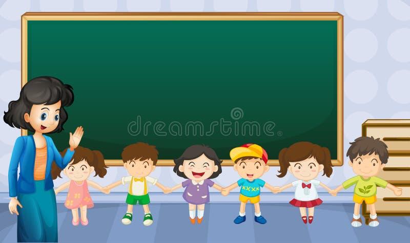 Professeur et étudiants dans la salle de classe illustration libre de droits