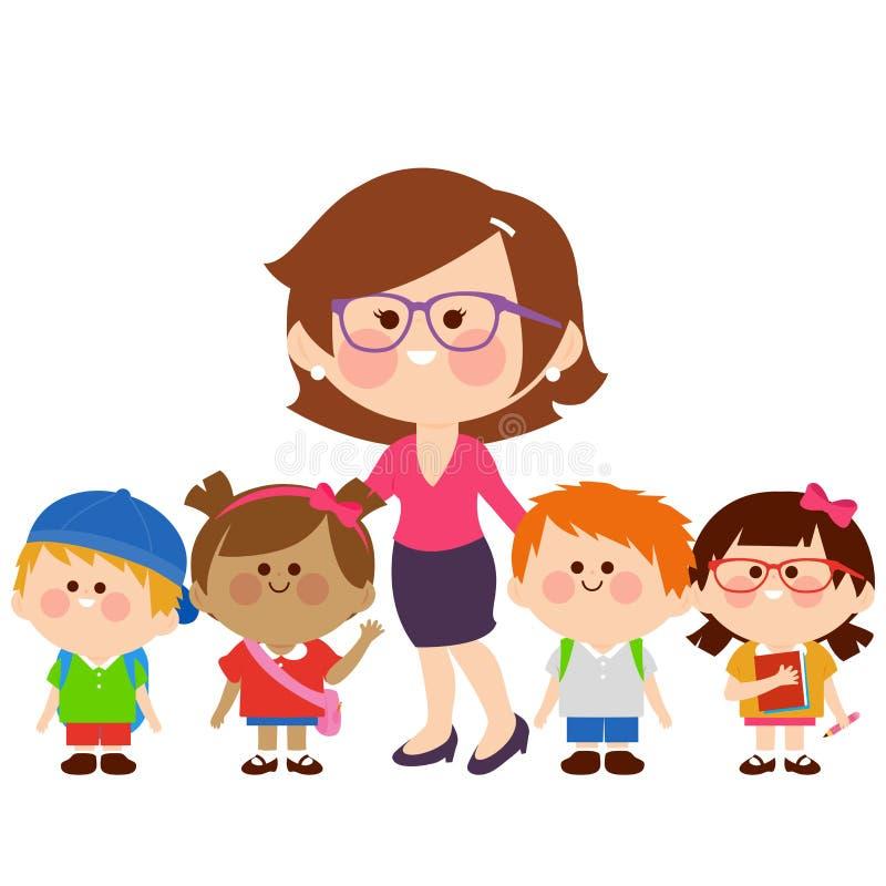 Professeur et groupe d'étudiants d'enfants illustration libre de droits