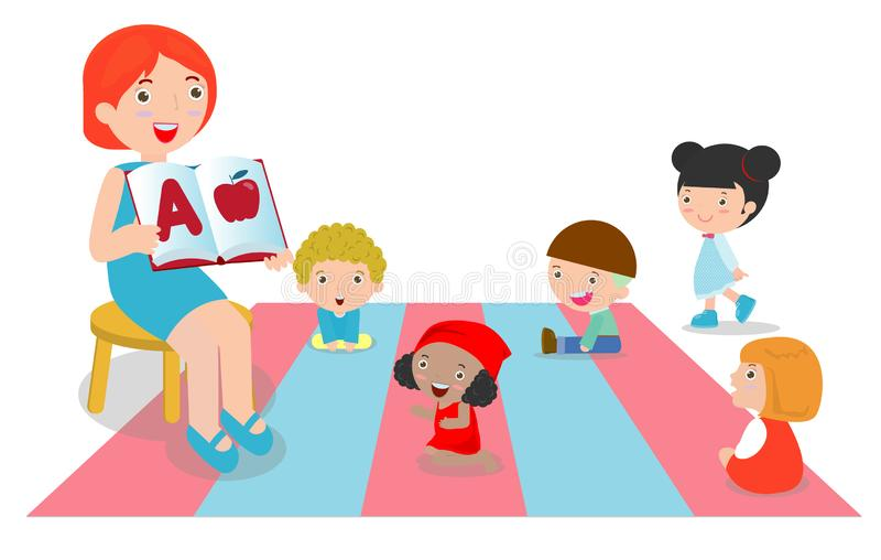 Professeur expliquant l'alphabet aux enfants autour de elle, livres de lecture de professeur pour des enfants dans le jardin d'en illustration de vecteur
