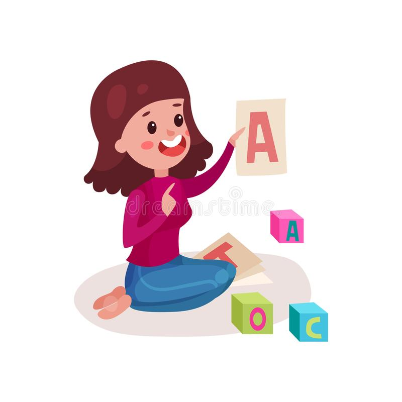 Professeur féminin de sourire s'asseyant sur le plancher montrant la lettre A, enfant de enseignement de femme l'alphabet vecteur illustration stock