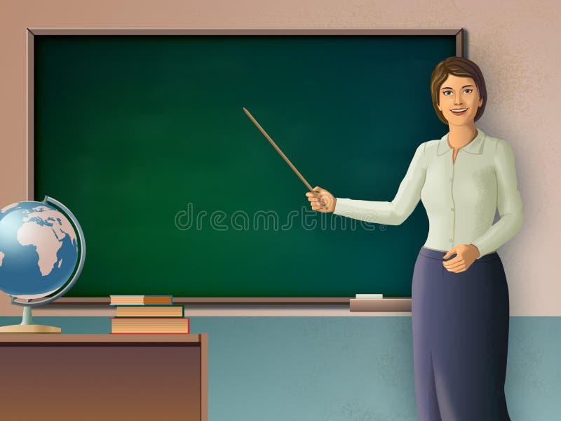 Professeur féminin indiquant un tableau noir illustration libre de droits