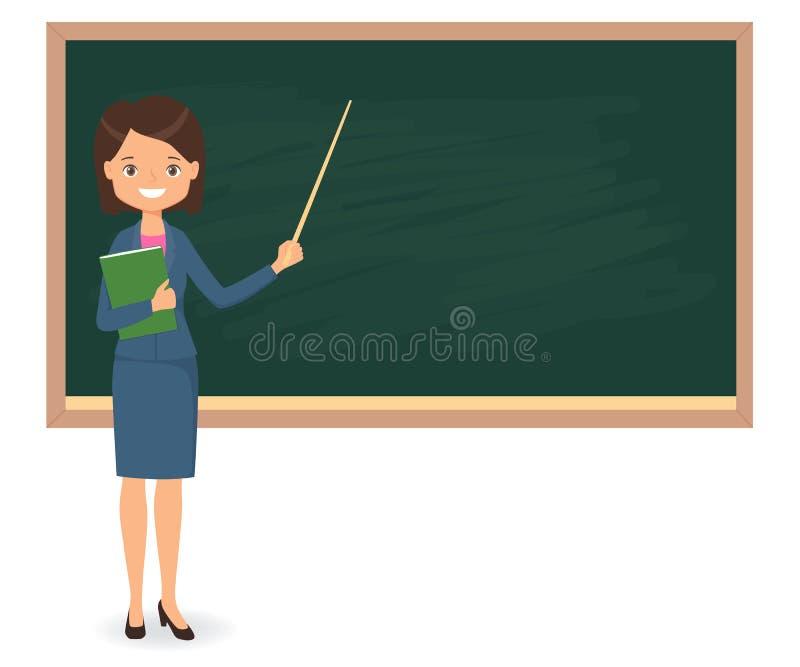 Professeur féminin presque se tenant du tableau noir vide d'école illustration de vecteur