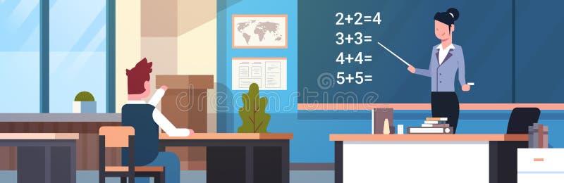 Professeur féminin With Pupil Boy de leçon de maths d'école dans la bannière horizontale de salle de classe illustration stock