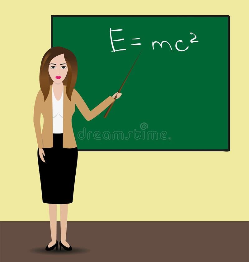 Professeur féminin se tenant devant le tableau Professeur d'Université utilisant l'indicateur pour montrer la formule Illustratio illustration de vecteur