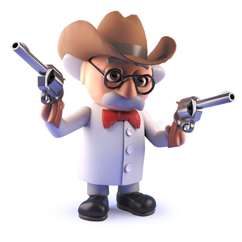 Professeur fou de bande dessin?e de scientifique dans 3d utilisant un chapeau de Stetson de cowboy et tenant des pistolets illustration libre de droits