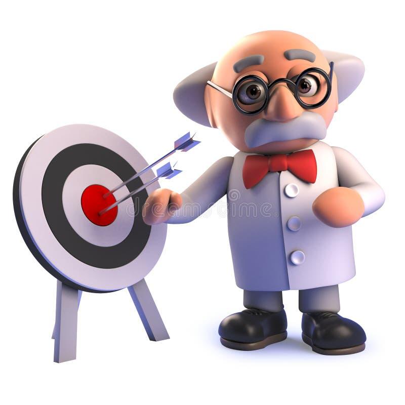 Professeur fou de scientifique de la bande dessinée 3d se tenant prêt une cible avec des flèches dans elle illustration de vecteur
