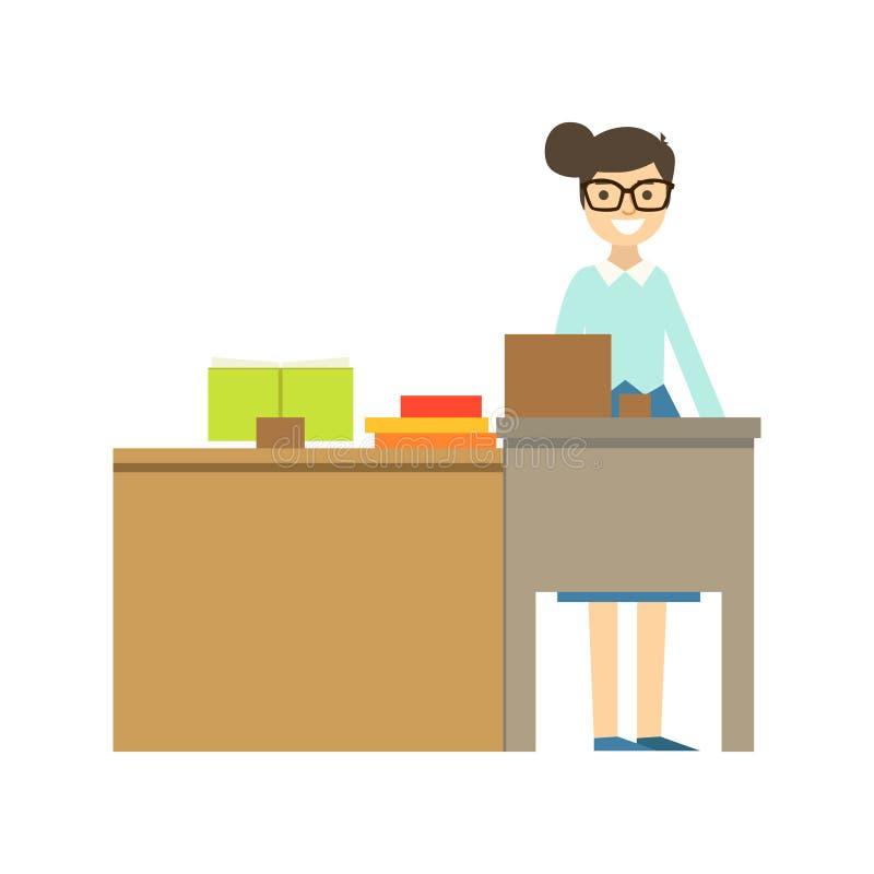 Professeur In Glasses Standing derrière le sourire du bureau, partie d'école et séries de la vie de chercheur de Minimalistic illustration stock