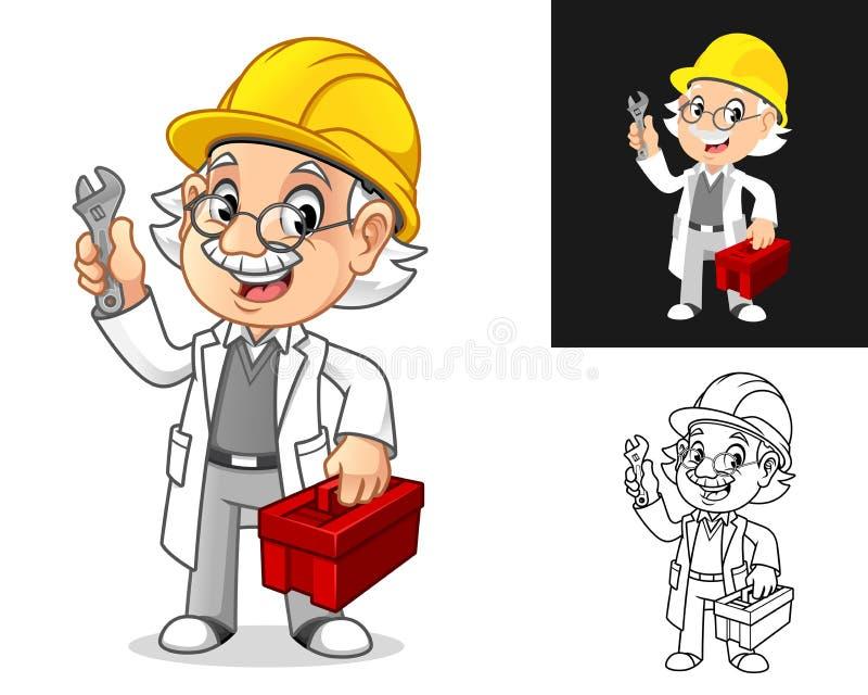 Professeur Mécanique avec lunettes et boîte à outils pour la fixation du chapeau dur illustration de vecteur