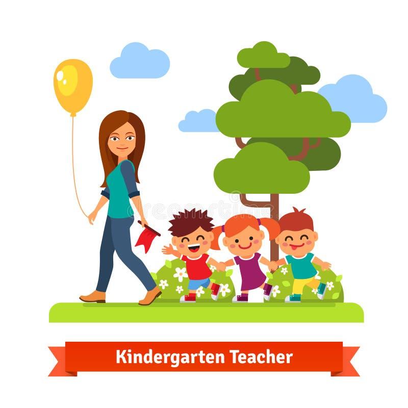 professeur marchant avec des enfants illustration de vecteur