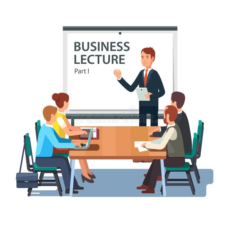 Professeur moderne d'affaires présentant l'exposé illustration stock