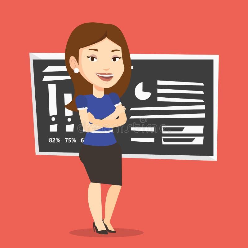 Professeur ou étudiant se tenant devant le tableau illustration stock