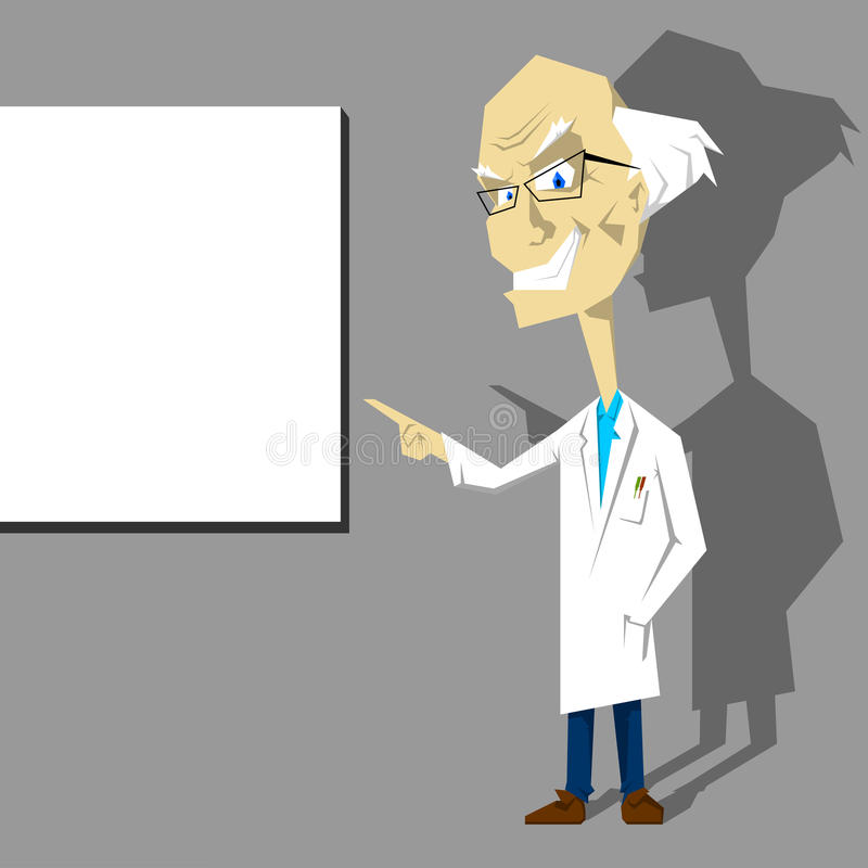 Professeur ou docteur dans le blanc présentant le panneau blanc illustration de vecteur