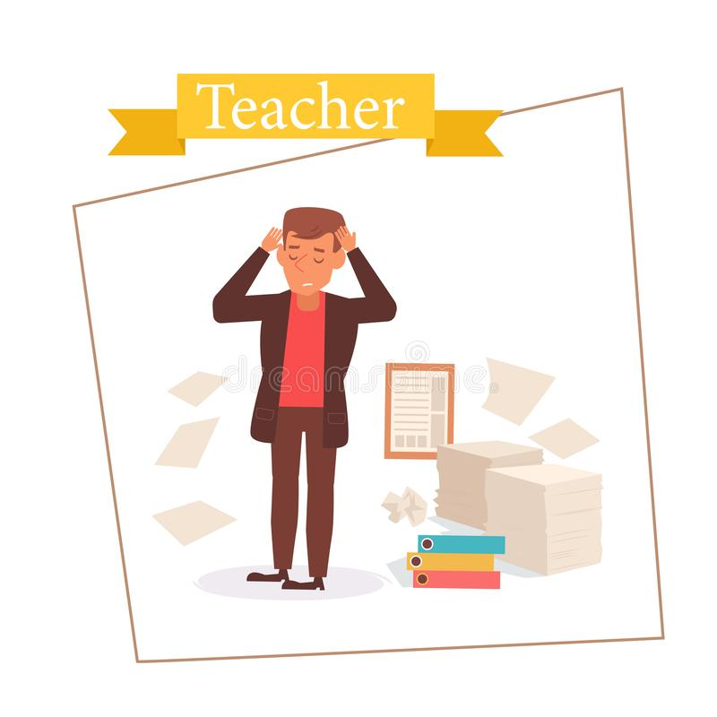 Professeur ou homme d'affaires Vector cartoon Art d'isolement sur le fond blanc plat illustration stock