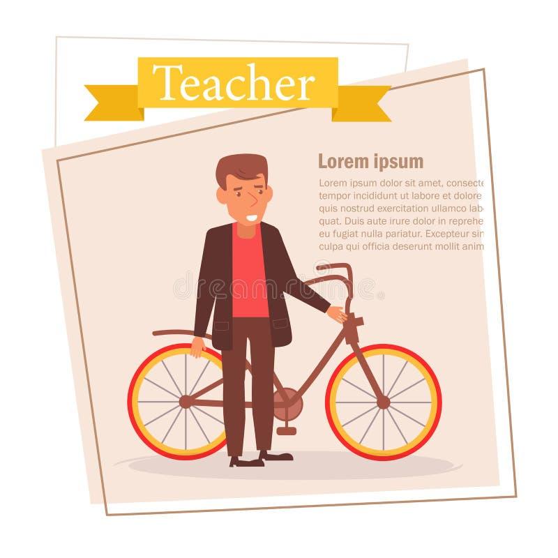 Professeur ou homme d'affaires Vector cartoon Art d'isolement sur le fond blanc plat illustration libre de droits