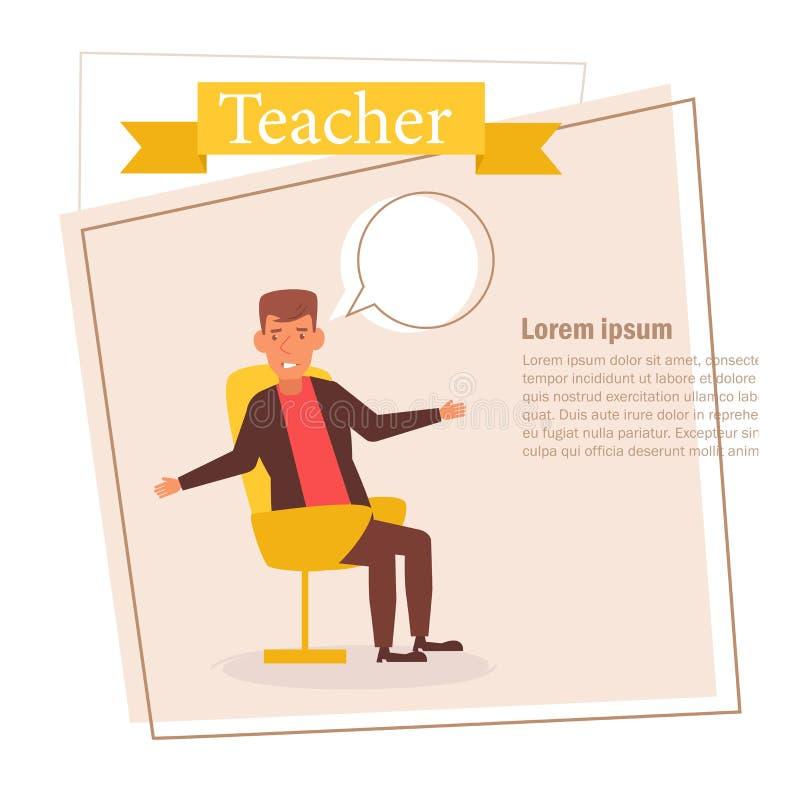 Professeur ou homme d'affaires Vector cartoon Art d'isolement sur le fond blanc plat illustration de vecteur