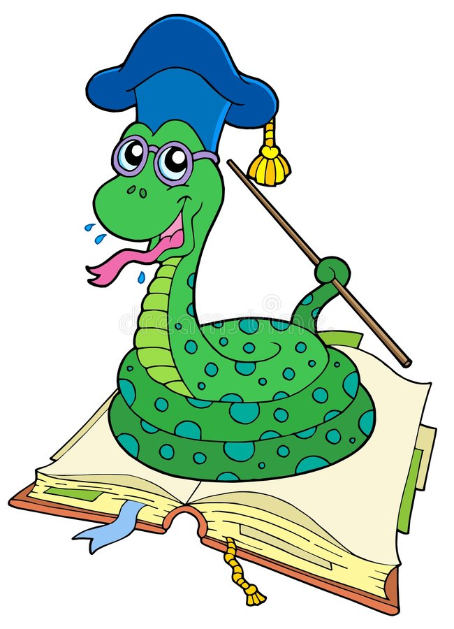 professeur ouvert de serpent de livre illustration stock