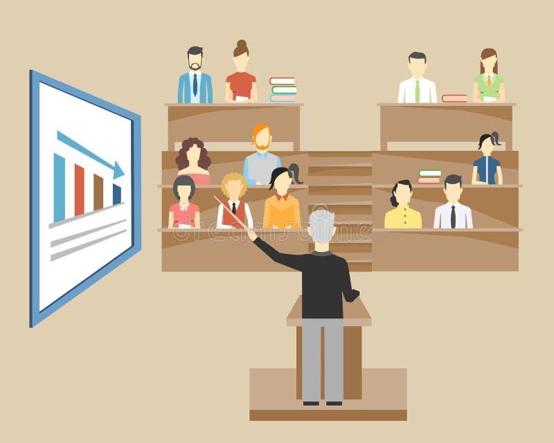 Professeur parlant aux étudiants à l'université illustration de vecteur