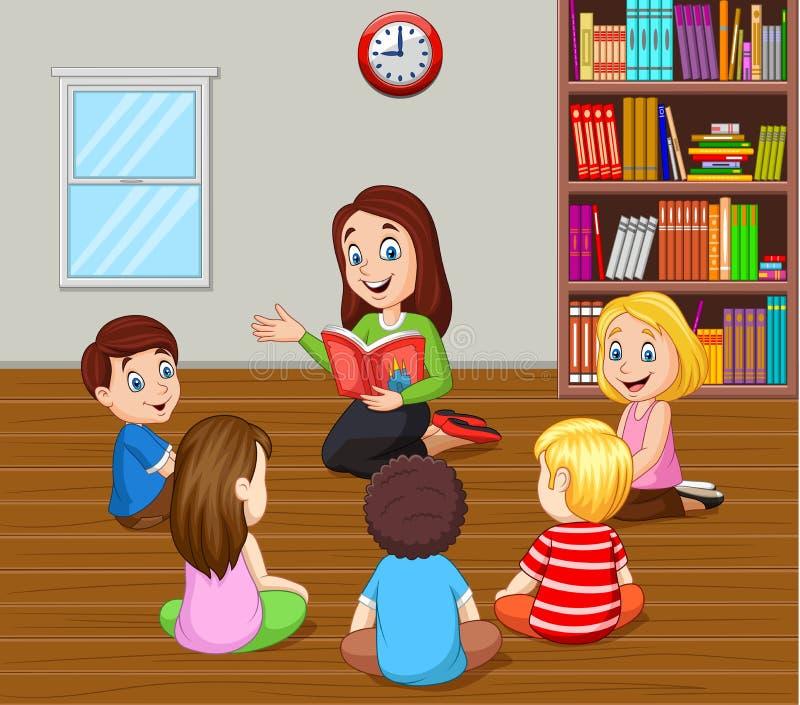 Professeur racontant une histoire aux enfants dans la salle de classe illustration de vecteur
