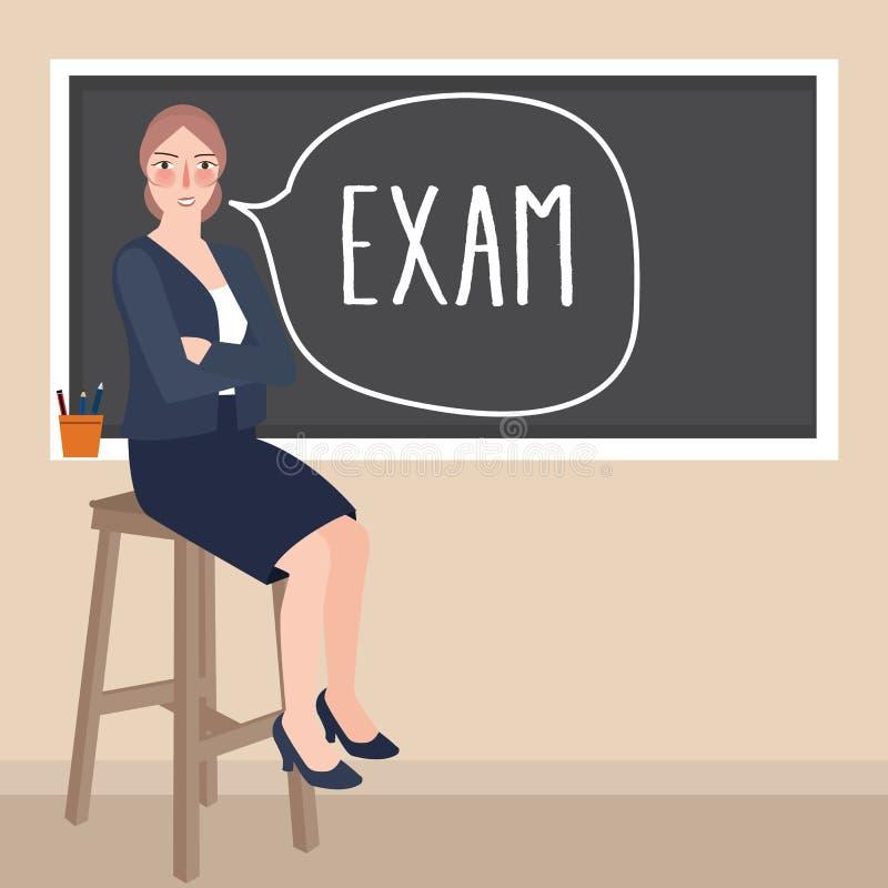Professeur s'asseyant devant l'examen d'écriture de classe dans le tableau noir illustration libre de droits