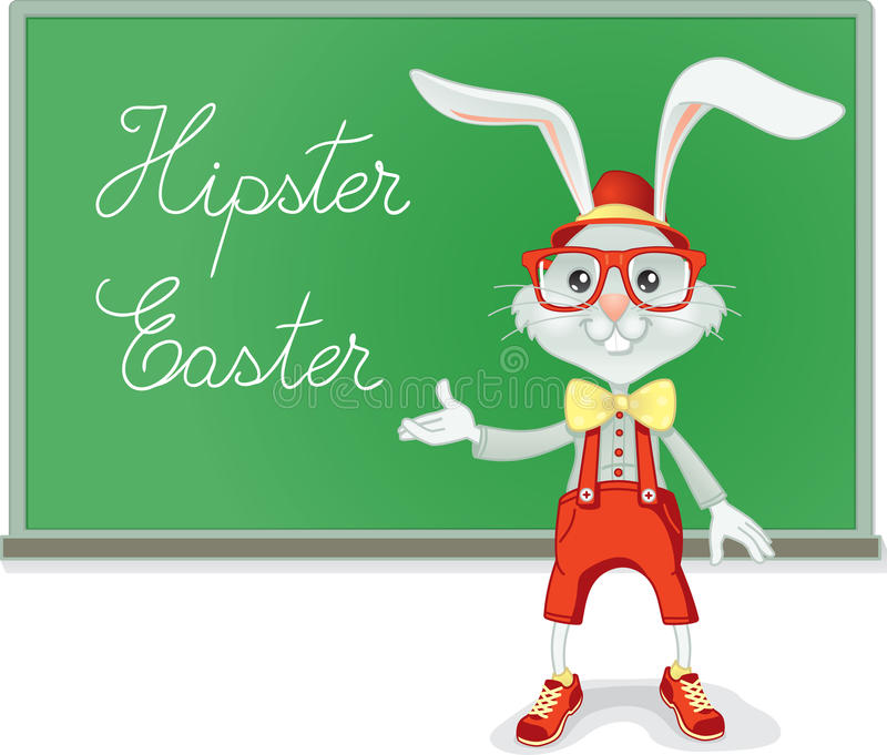 Professeur Vector Cartoon de lapin de Pâques de hippie illustration stock