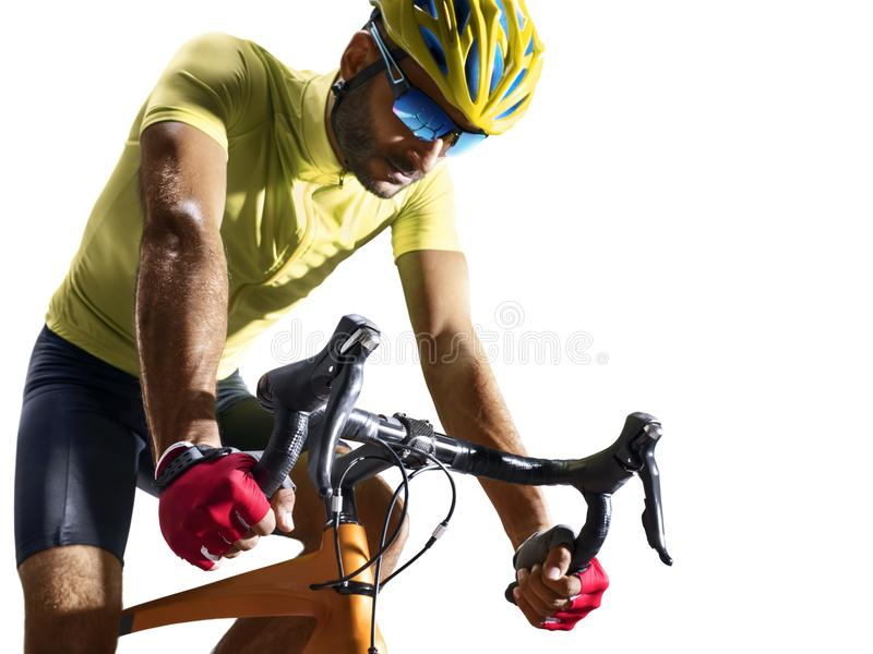 Professinal road bicycle racer isolated in motion on white royalty free stock image