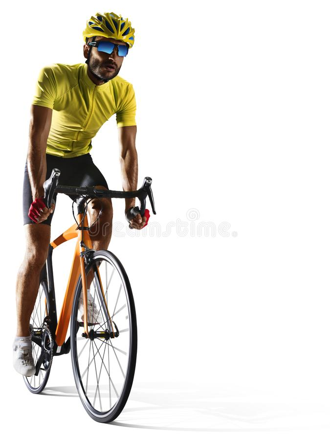 Professinal road bicycle racer isolated on white royalty free stock photos