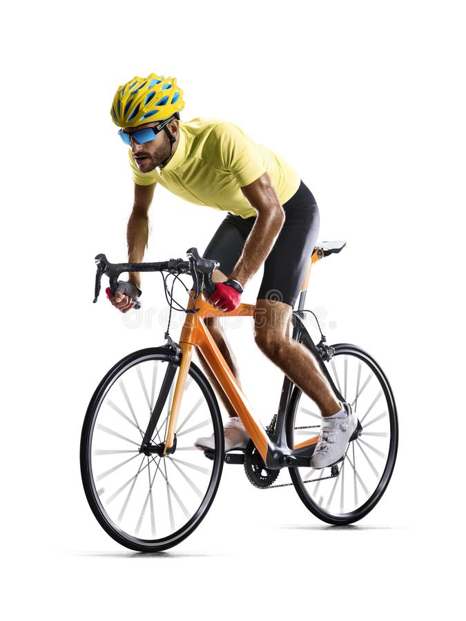 Professinal road bicycle racer isolated in motion on white stock photos