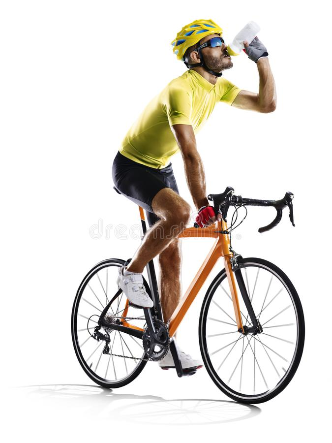 Professinal road bicycle racer isolated in motionon white stock photography