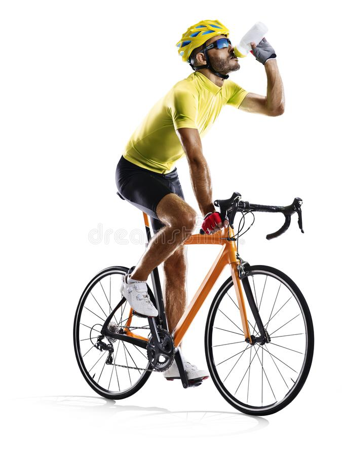 Professinal road bicycle racer isolated on white stock images