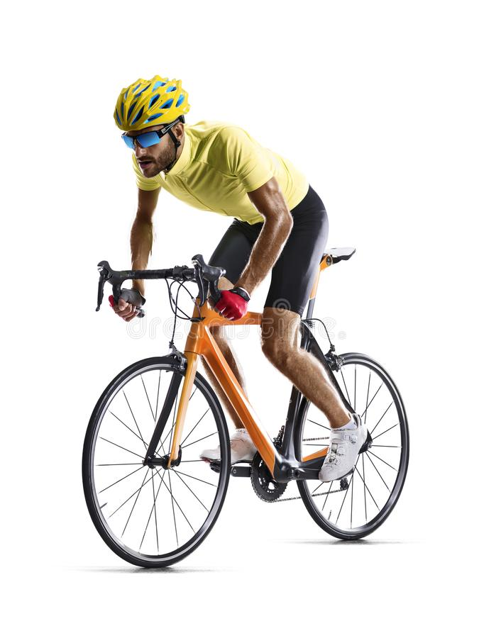 Professinal-Straßen-Fahrradrennläufer lokalisiert auf Weiß lizenzfreies stockfoto
