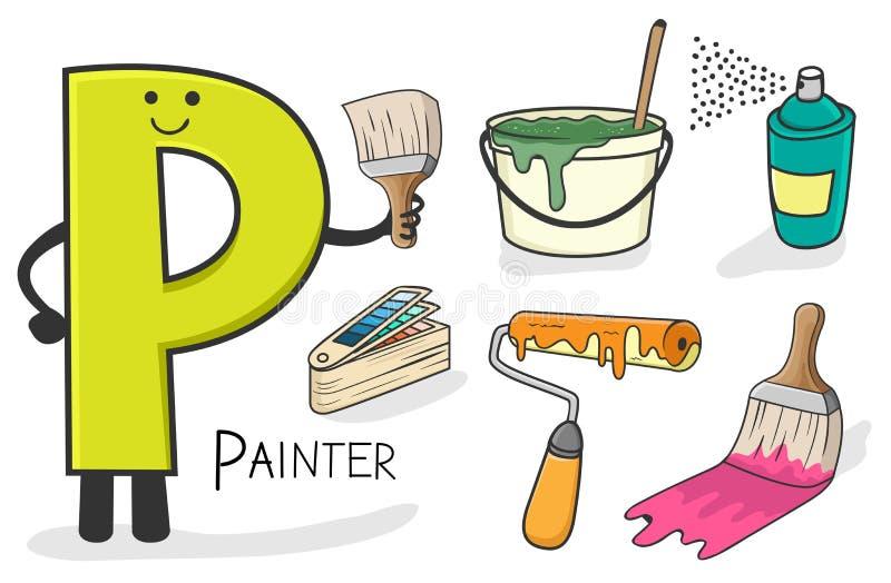 Profession d'Alphabeth - lettre P - peintre illustration libre de droits