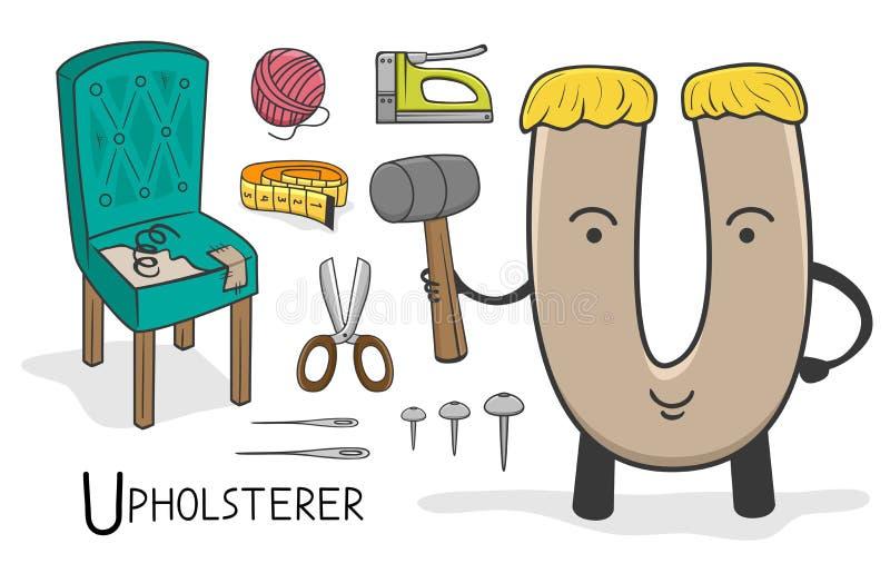 Profession d'Alphabeth - lettre U - tapissier illustration de vecteur