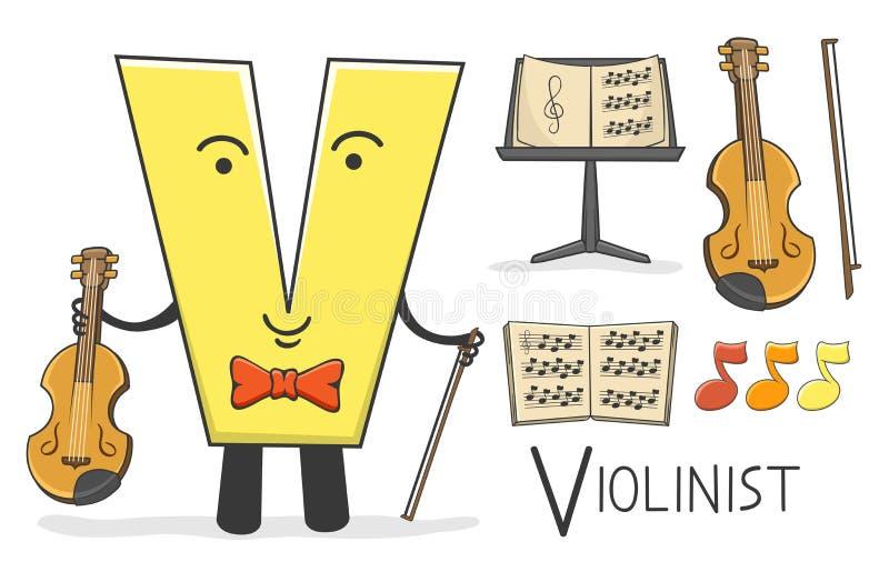 Profession d'Alphabeth - lettre V - violoniste illustration de vecteur
