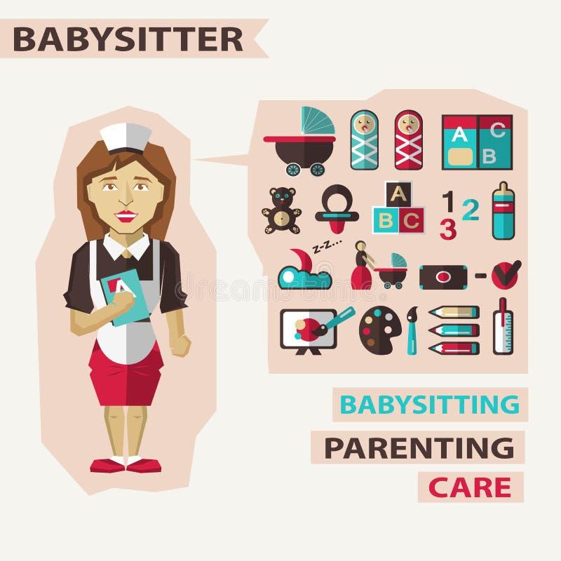 Profession des personnes Infographic plat babysitter illustration stock