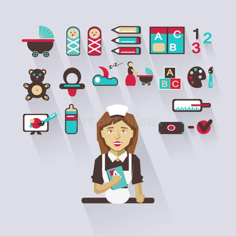Profession des personnes Infographic plat babysitter illustration de vecteur
