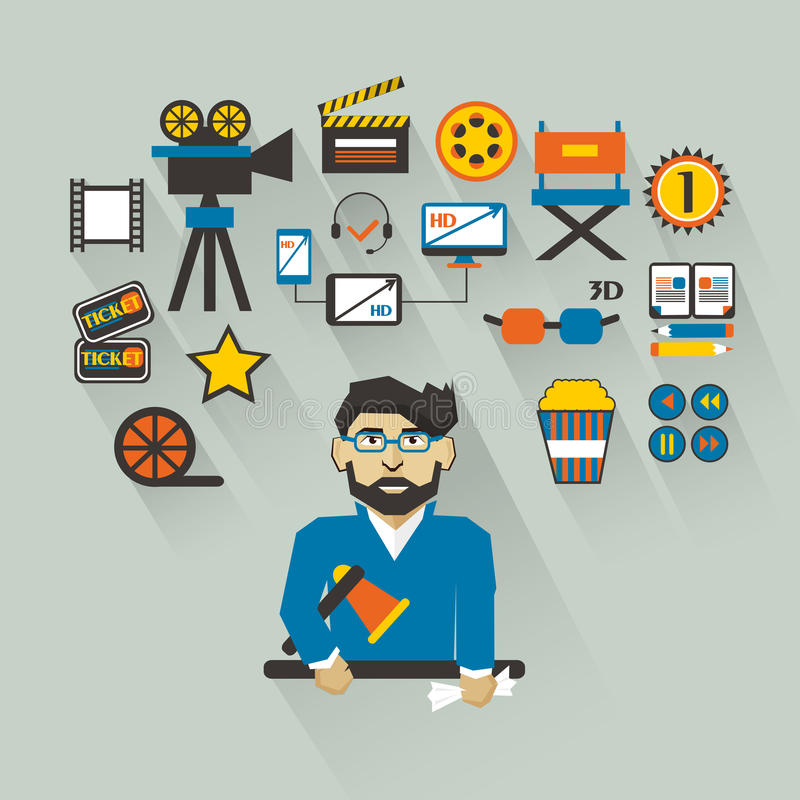 Profession des personnes Infographic plat filmmaker illustration de vecteur