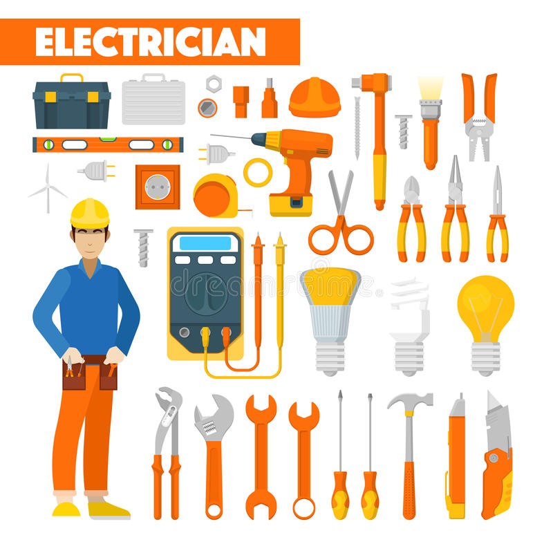 Profession Electrician Icons Set with Voltmeter and Tools vector illustration