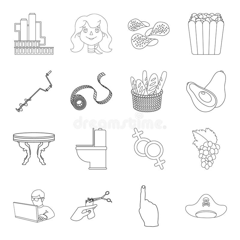 Profession, fishing, food and other web icon in outline style.hairdresser, technology, fitness icons in set collection. Profession, fishing, food and other icon royalty free illustration